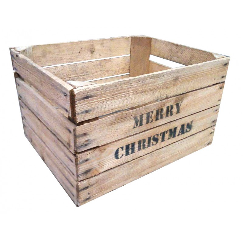 Merry christmas apple crates king of crates for Used apple crates