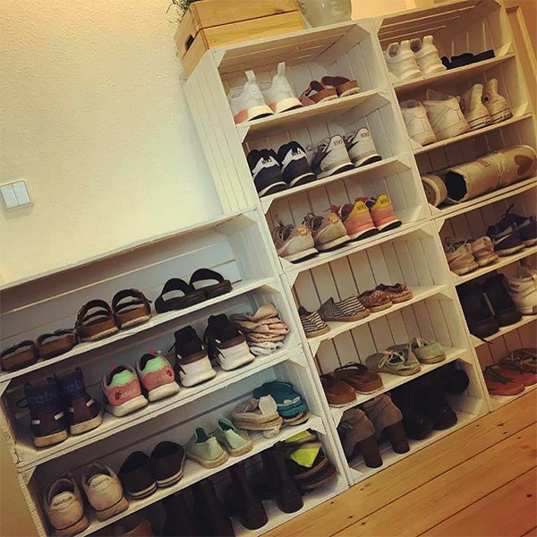 Large Shoe Storage with Apple Crates